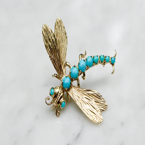 Mid Century Vintage 14k Yellow Gold and Persian Turquoise Dragonfly Brooch