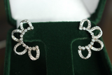 18k White Gold and Diamond Ear Climber or Drop Earrings