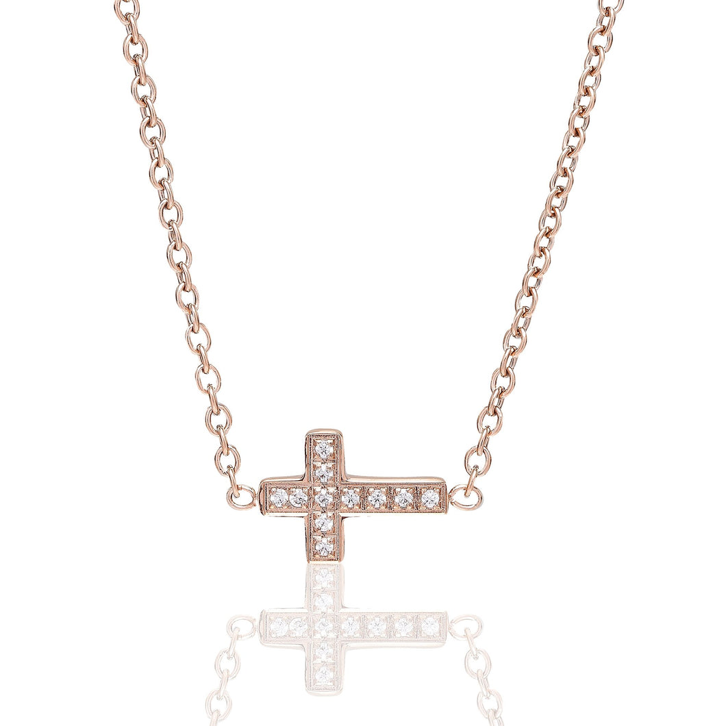 ANNEBRAUNER Small cross Rose/White