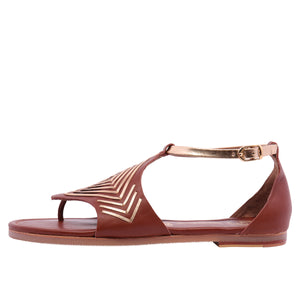 Diamond Flat Leather Sandal - Tan
