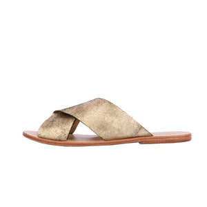 Folded Mule Flat - Distressed Gold