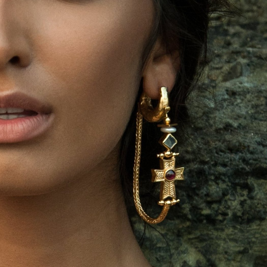 Empire Hoop Earrings Gold