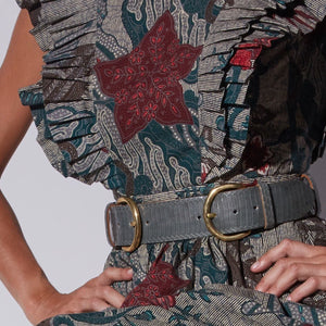 Wide Double Buckle Belt - Dark Sage