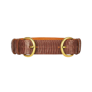 Wide Double Buckle Belt - Cognac