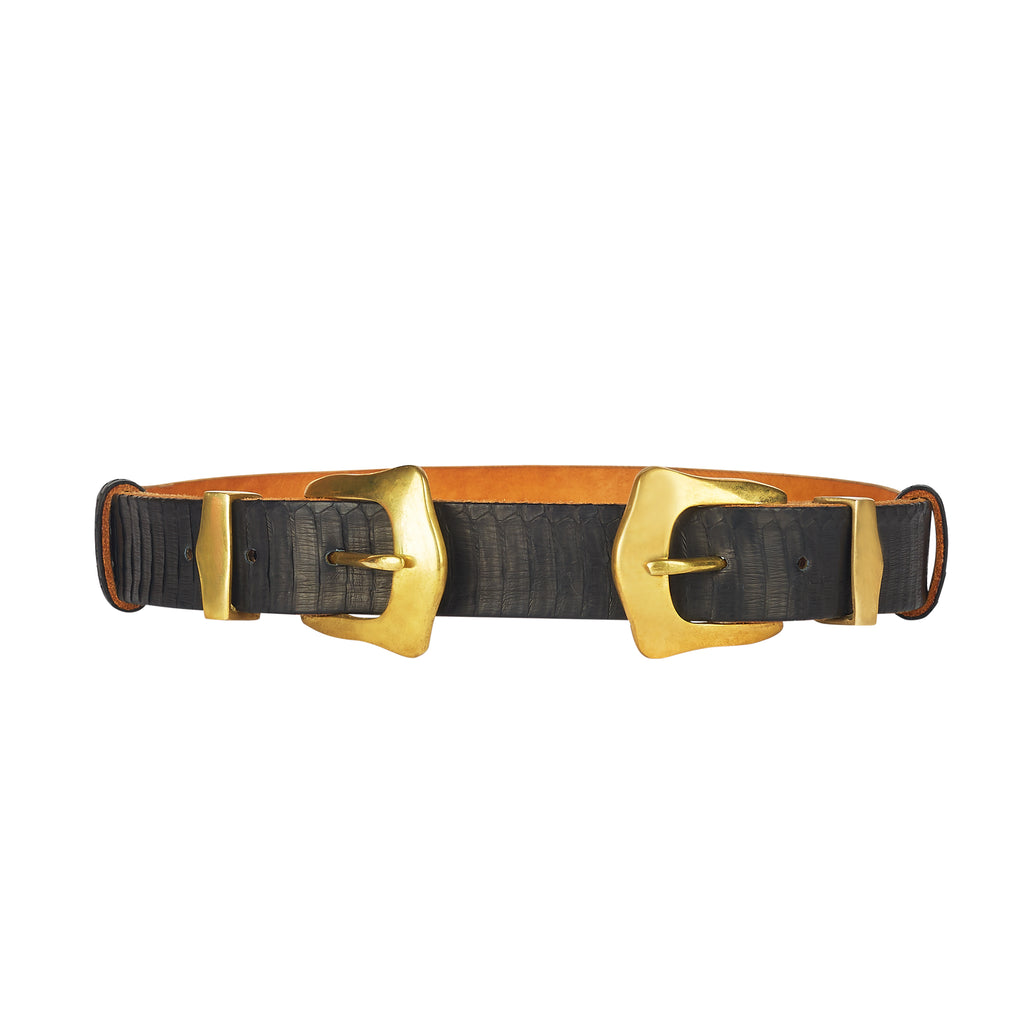 Western Double Buckle Belt - Black