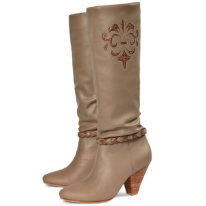 Slouched Knee High Boot - Taupe