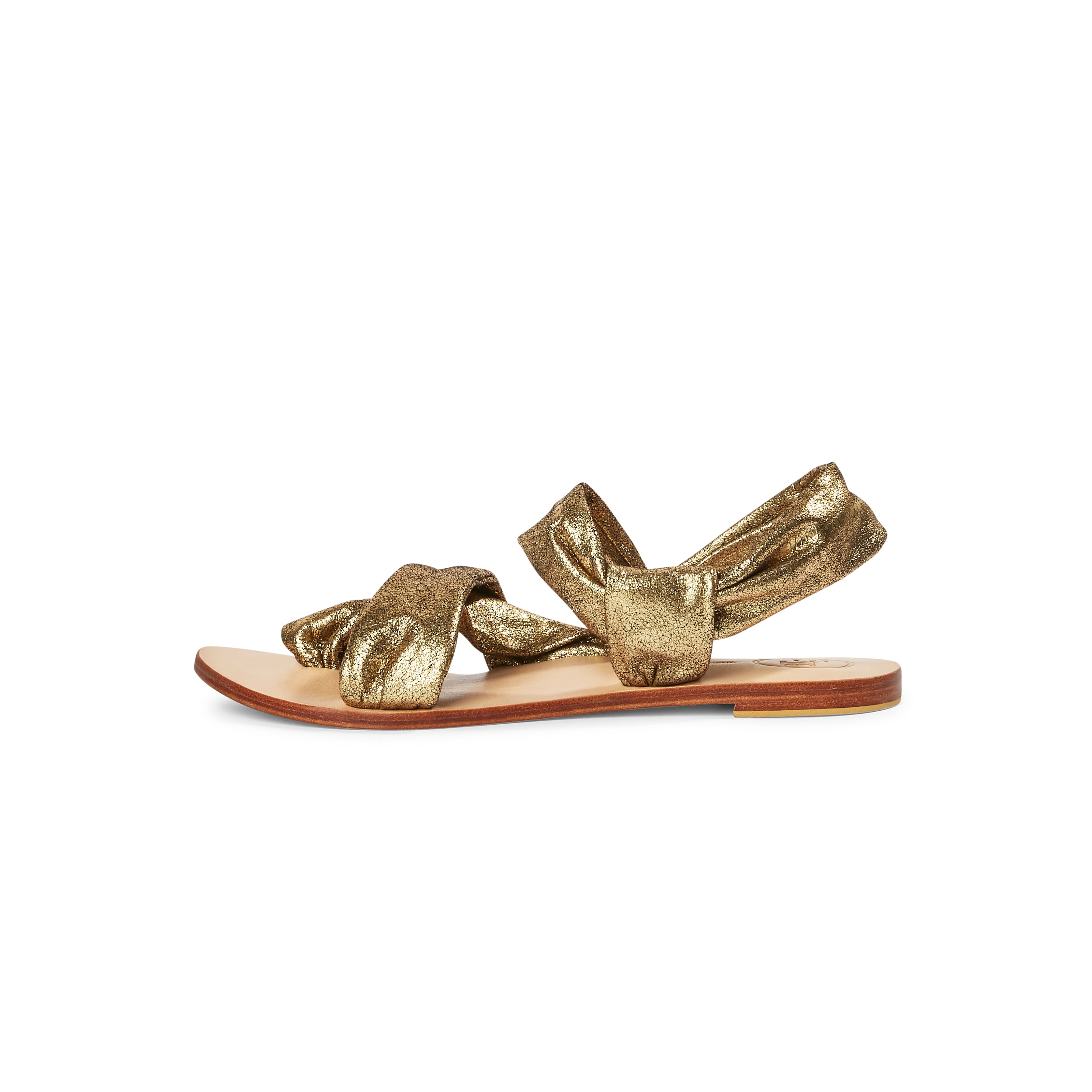 The Rouched Sandal - Distressed Gold