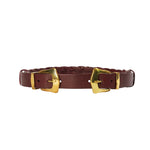 Large Link Western Double Belt - Burgundy