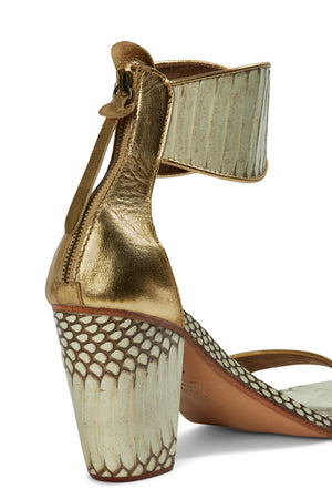 Farah Block Heel - Natural/Gold