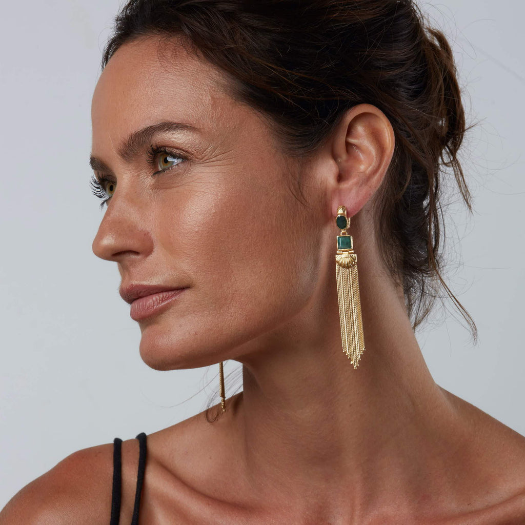 Augustine Earrings - Gold/Emerald