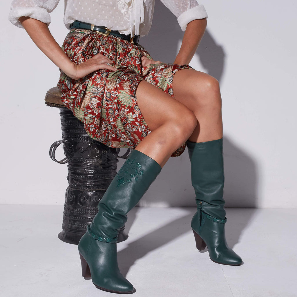 Slouched Knee-High Boots - Emerald