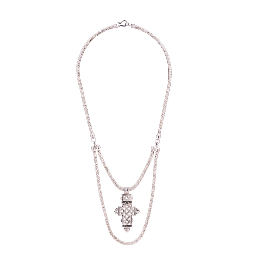 Aethiopia Cross Necklace Silver