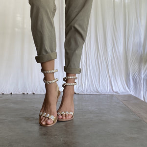 Astrid Wrap Around Heel - Natural/Gold