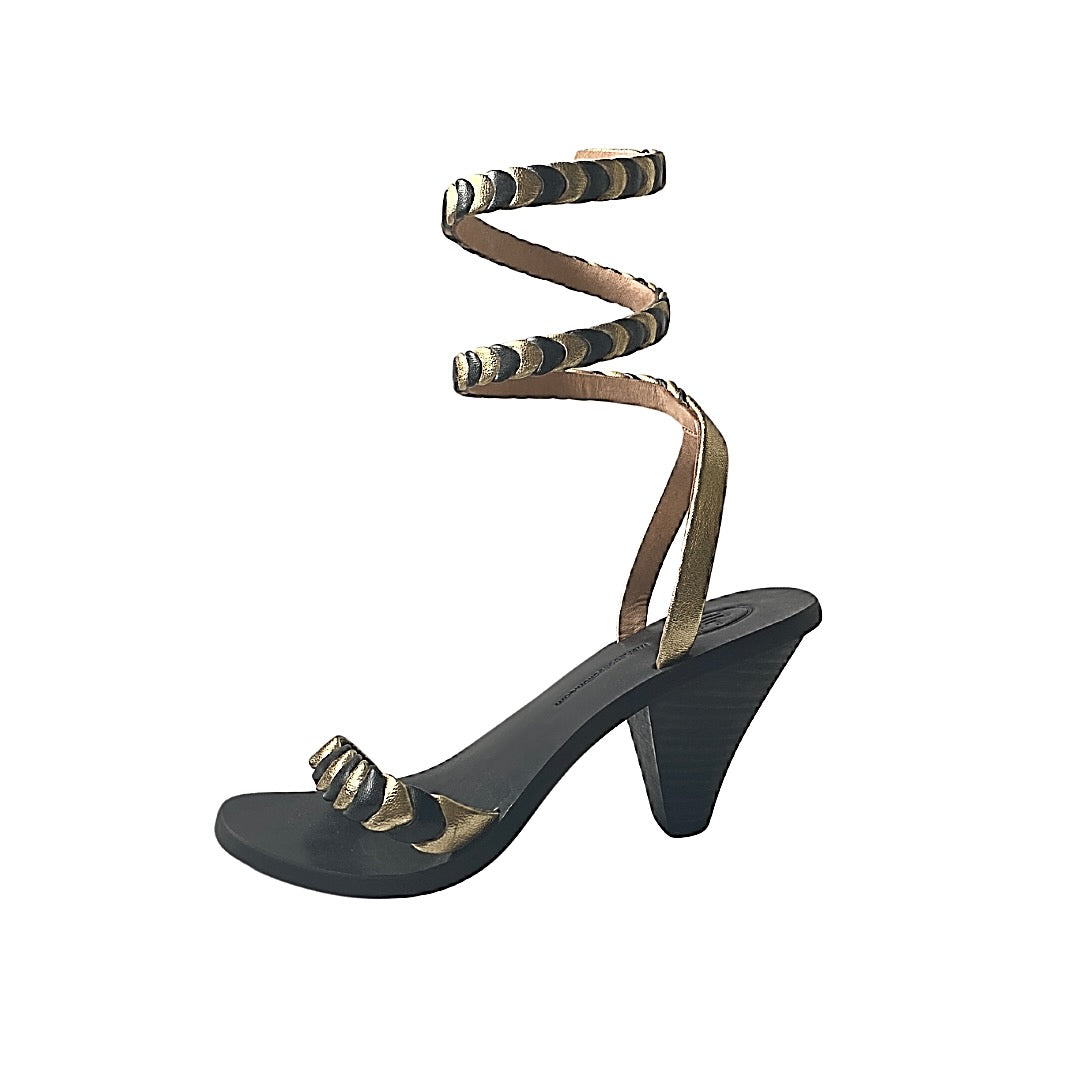 Astrid Wrap Around Heel - Black/gold