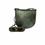 Baby mock croc Saddle Bag- metallic green