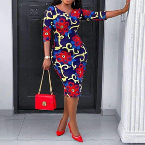 African Fashion Floral Print Dress Office Ladies Elegant Vintage Dress Party Mid Robe
