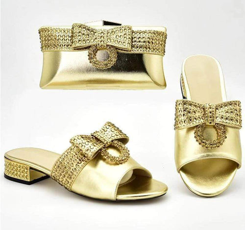 African Wedding Italian Shoes and Bag Set Ladies' Shoes with Matching Bag Set Decorated with Rhinestones for Party - Milvertons