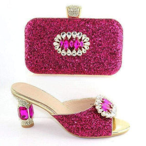 Captivating New Arrival Rhinestone Shoes With Matching Bag Set  High Heels