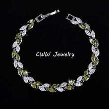 Load image into Gallery viewer, Cubic Zirconia Leaf Charm Link Chain Bracelet