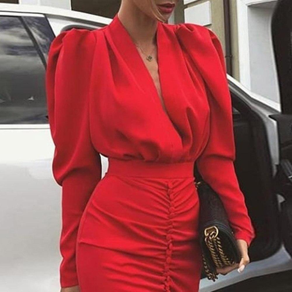 Elegant Red Pleated Pullover Female Dress Robe Dinner Club Party Midi Women Dresses Puff Sleeve African Autumn - Milvertons