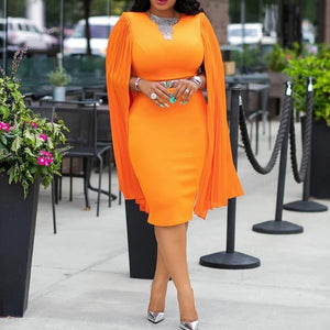 Evening Dinner Party Orange Long Sleeve Dress Autumn Fall Women Bodycon High Waist Plus Size 3XL Female Pencil Midi Dress