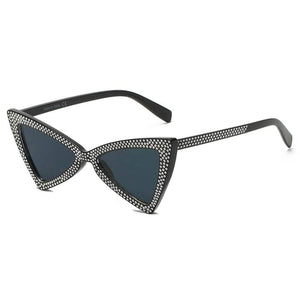 Extreme High Pointed Rhinestone Fashion Cat Eye Retro Sunglasses - Milvertons