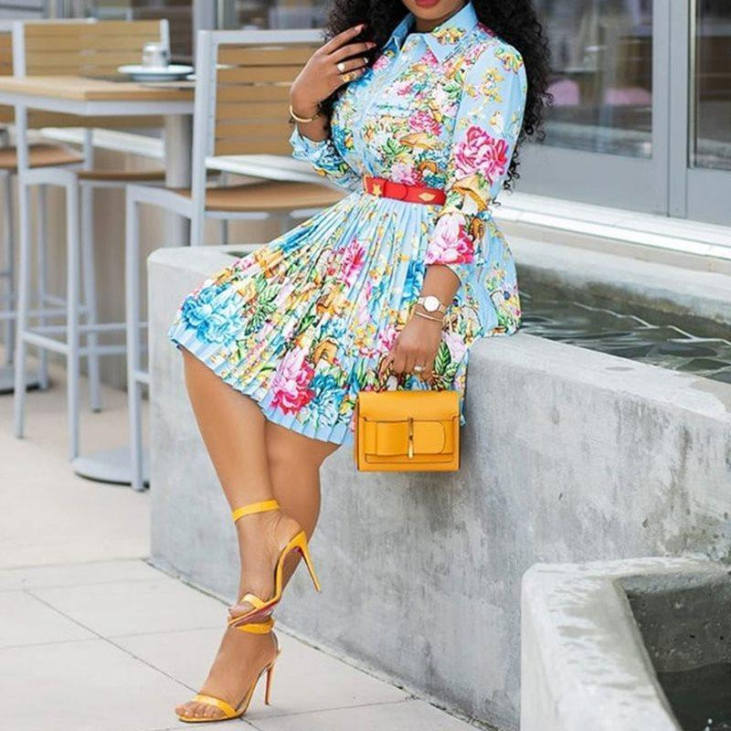 Floral Pleated Dress Casual Office Lady African Elegant Street Holiday Chic Printed Sexy Boho Dress