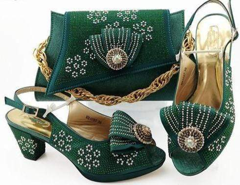 Italian peach Shoes With Matching Bags African Women Shoes and Bags Set For Prom Party Summer Sandal-HBZ1-23