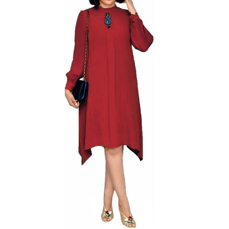Loose Orange Female Midi Dress Casual Daily Office Lady Workwear Dress Autumn African Long Sleeve Female Vestiods Robe - Milvertons