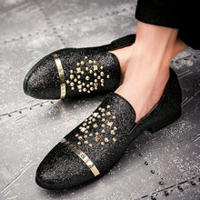 Load image into Gallery viewer, Men's Spiked Rivets Loafers with Diamond Rhinestones - Milvertons