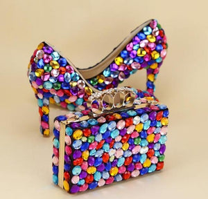 Multicolored Luxury Rhinestone Encrusted Shoes And Purse Set