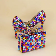 Load image into Gallery viewer, Multicolored Luxury Rhinestone Encrusted Shoes And Purse Set - Milvertons