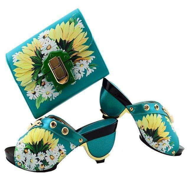 New Printed Flower PU Leather Shoes And Bag Set High Heels - Milvertons