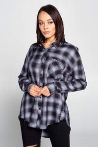 Plaid Long Sleeve Buttoned Top - Milvertons