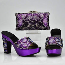 Load image into Gallery viewer, Rhinestone Decorated Matching Shoe and Bag Set