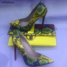Load image into Gallery viewer, Hot Selling High Heel shoes Snake Printed Leather 12cm women shoes pumps With Matching Clutch Bags Sets - Milvertons