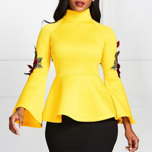 Women Blouse Yellow Tops Shirts Flare Long Sleeve Slim Party Wear Autumn Elegant Lady Blouse Shirts Tops Blouses African