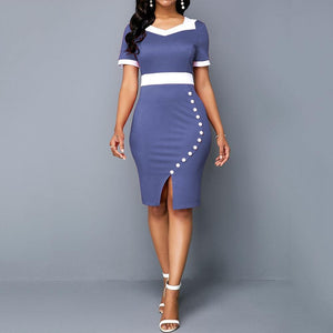 Women Summer Sheath Short Sleeve Midi Dresses Robe Daily Office Lady Dress Female Plus Size - Milvertons