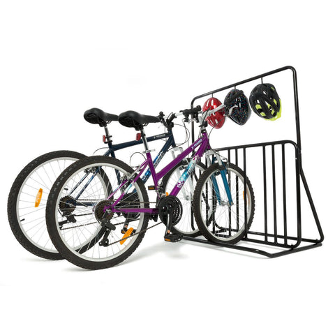 6-Bikes Parking with Helmet Holder - Home Insight