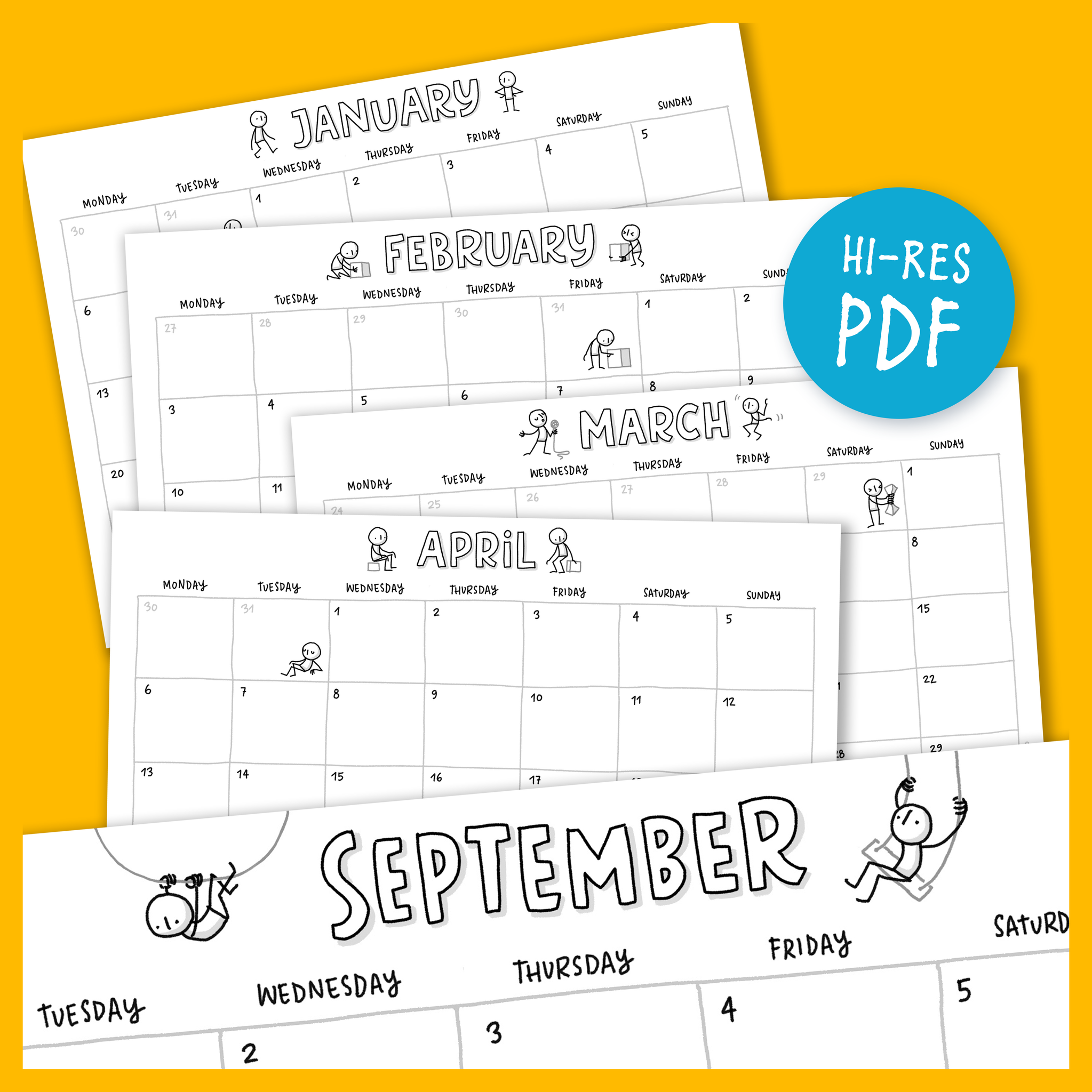 Printable Calendar 2021 – Little People - Eva-Lotta's Shop