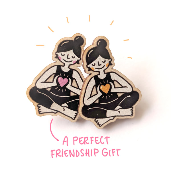 Wooden Yogini & Yogi Pin