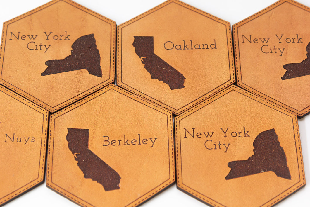 Custom Home Sweet Home Leather Coasters
