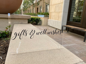 Gift Table Acrylic Sign for Wedding or Party with Stands