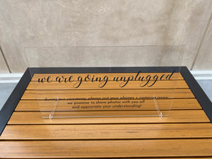 Unplugged Wedding Ceremony Acrylic Sign with Stands