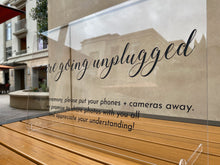Load image into Gallery viewer, Unplugged Wedding Ceremony Acrylic Sign with Stands