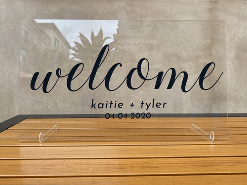 Custom Wedding Welcome Sign with Stands