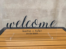 Load image into Gallery viewer, Custom Wedding Welcome Sign with Stands
