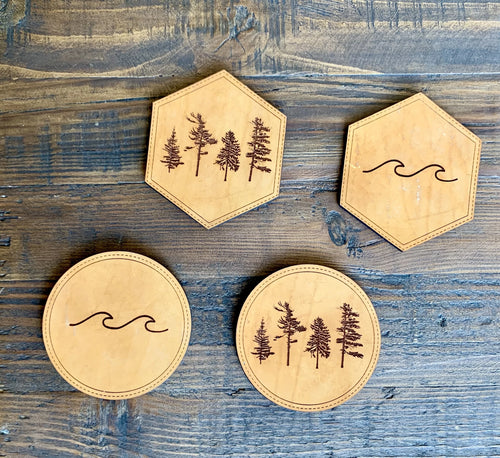 Get Outside Leather Coasters