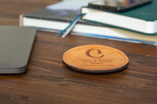 Custom Monogram Round Leather Coasters