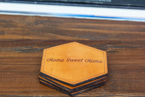 Home Sweet Home Leather Coasters